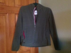 9b82f16be Details about Old Navy Fleece Jacket Womens L Olive With satin Magenta  Accents