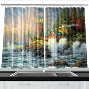 Details about Ocean Waves Lighthouse Cabin Window Drapes Kitchen Curtains 2  Panels Set 55x39\