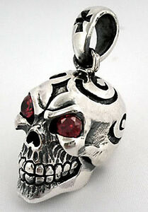 TRIPLE SKULL 925 STERLING SILVER MENS BIKER PENDANT NEW FOR CHAIN NECKLACE GOTH
