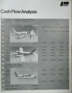 '75 Piper Arrow Seneca Chieftain Operating Cost Cash Flow Analysis Own / Operate