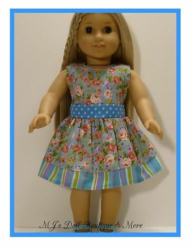Blue with Pink Flowers Print Dress fits American Girl Doll