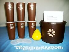 "Tupperware BROWN Canister RARE 17c Dbl Deep 8"" Snack +NEW Nasco Tumblers #297"