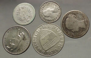 GROUP-LOT-of-5-Old-SILVER-Europe-or-Other-WORLD-Coins-for-your-COLLECTION-i53822
