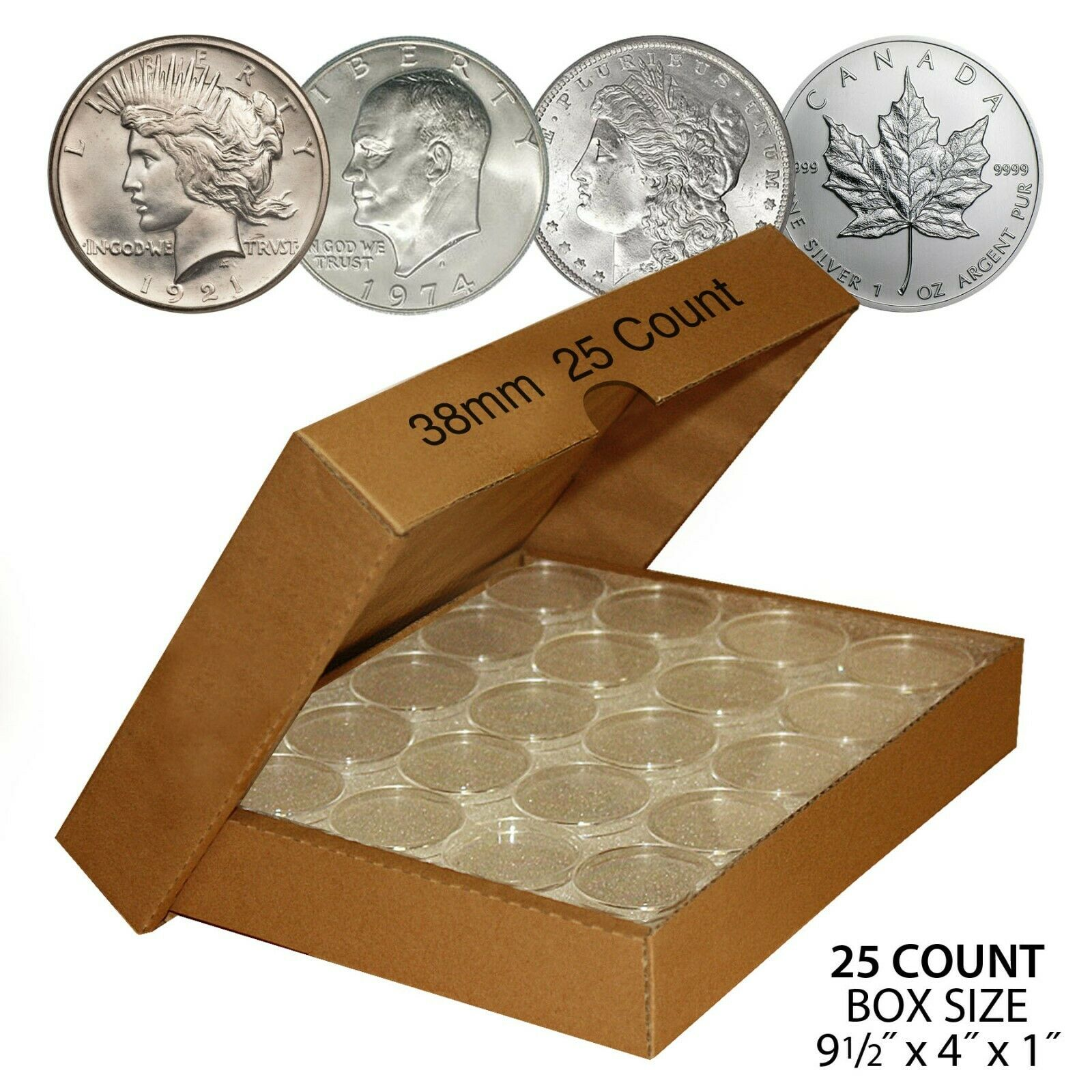 100 Guardhouse 38mm Airtight Coin Capsules for Morgan Ike Silver Dollar Peace
