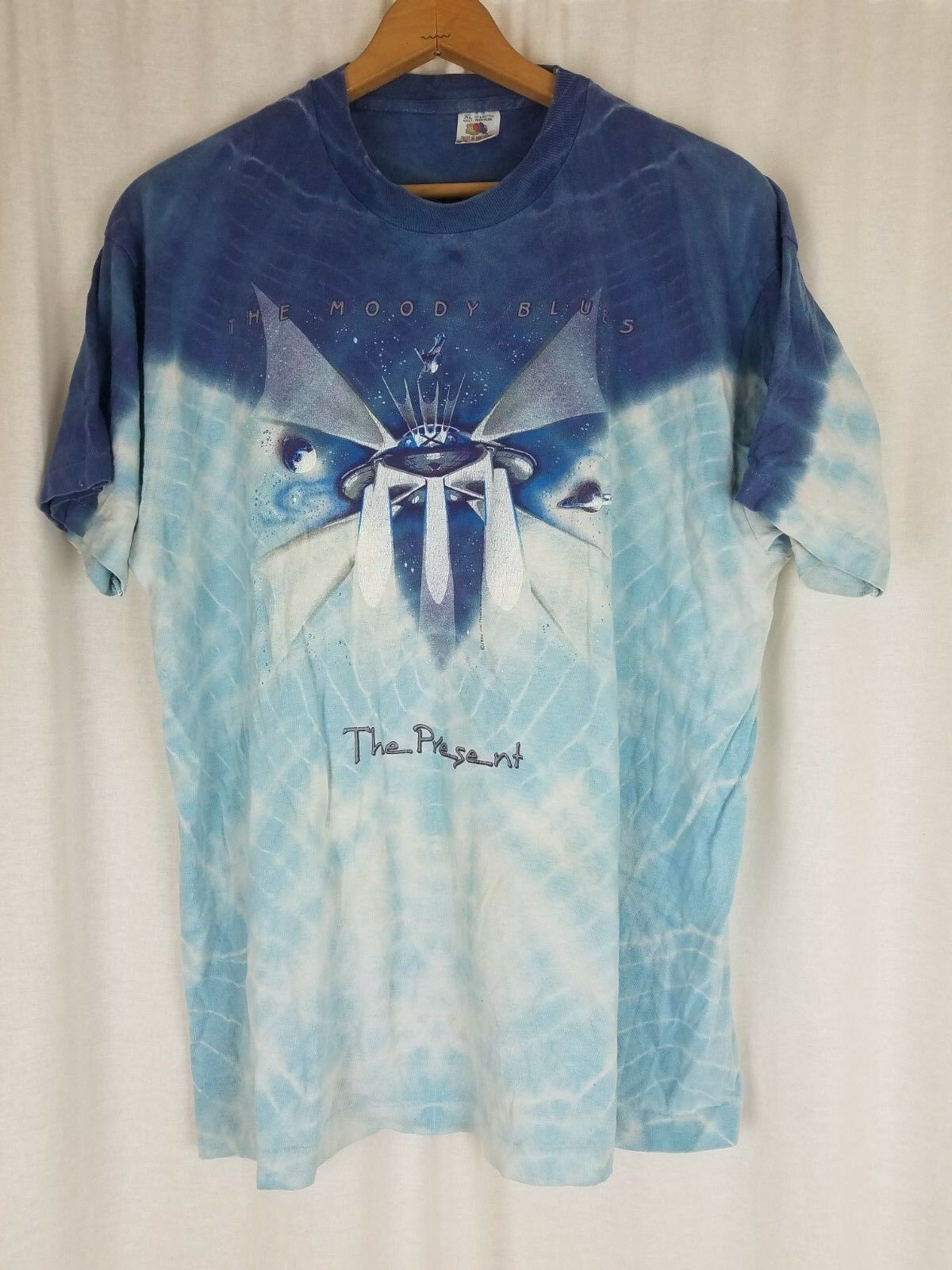 1999 Moody Blaus The Present Batik Ombre Konzert T-Shirt Hemd Herren XL