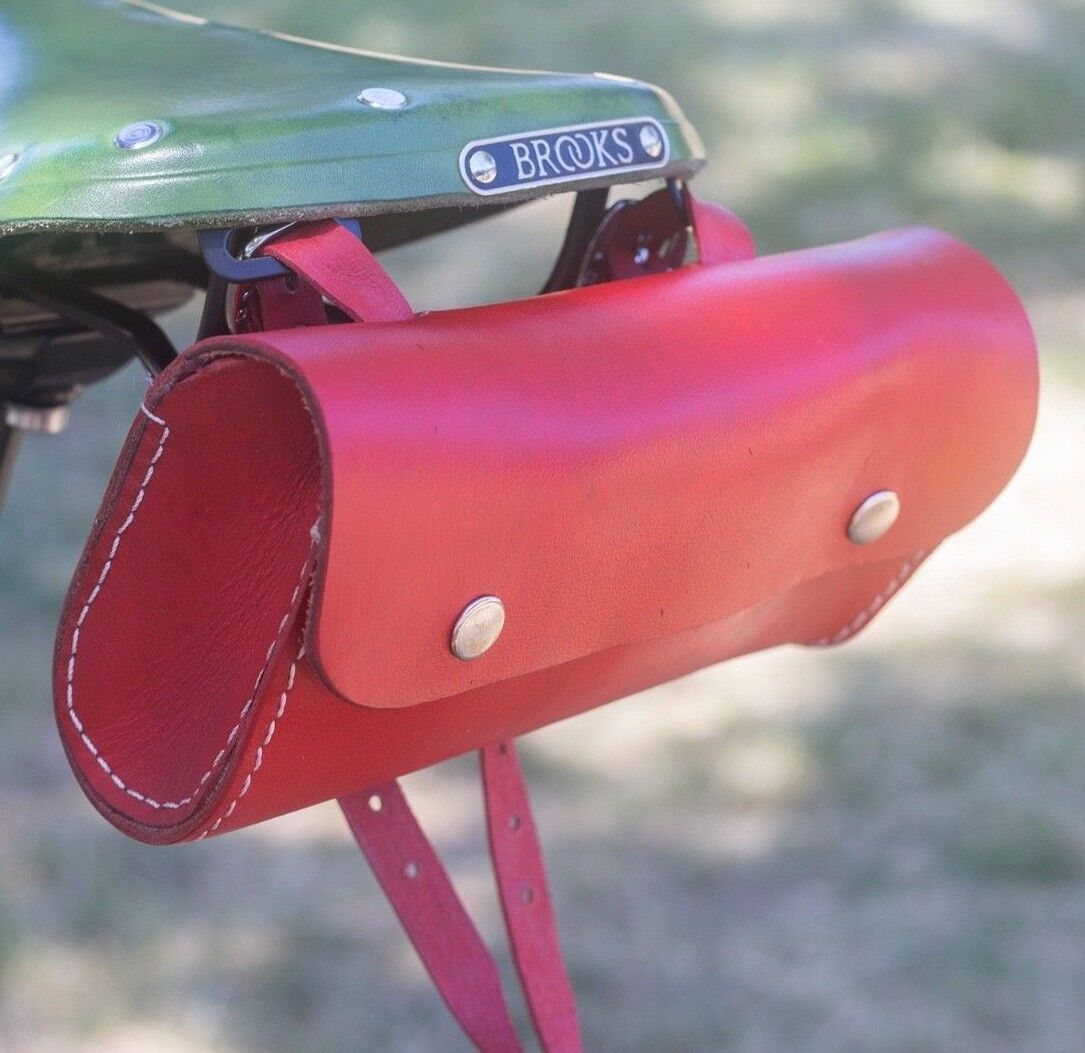 Leather Saddle Bag For Bike SCARLET  RED Limited Edition by London Craftwork L11  100% authentic