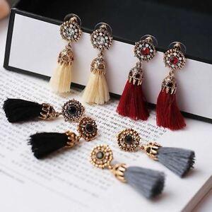 UK-Vintage-Women-Rhinestones-Crystal-Tassel-Drop-Dangle-Stud-Earrings-Jewelry
