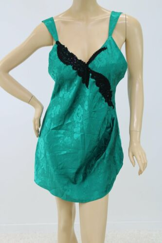 Emerald Green Victorias Secret Satin and Lace Nightie 1990/'s Satin Nightie Vintage Green Satin Nightie Size Medium Short Nightgown