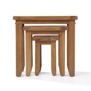 Rustic Oak Nest Of 3 Tables Living Room Solid Wood Furniture Chunky Top Ebay