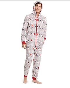 Family-Pajamas-Men-s-Polar-Bear-Hooded-Pajamas-Size-Medium