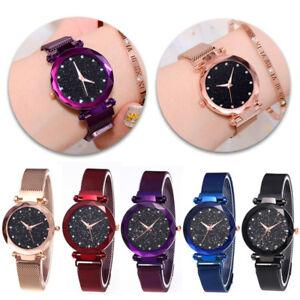 Runde-Damenuhr-Glitzeruhr-Edelstahl-Uhr-Magnet-Armband-mit-Diamanten-Wasserdicht