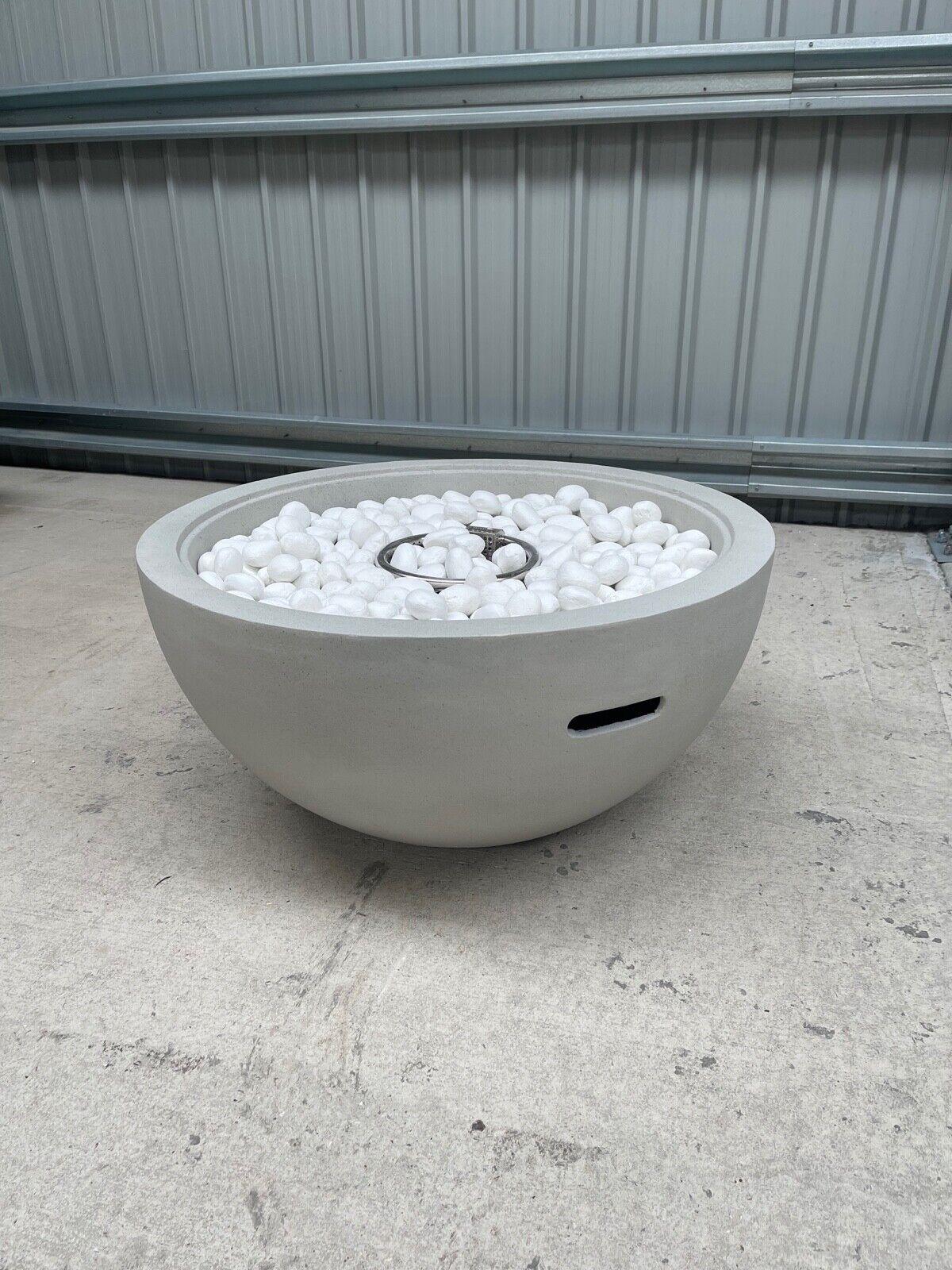 Lunar Bowl Gas Fire Pit With White Ceramic Pebbles