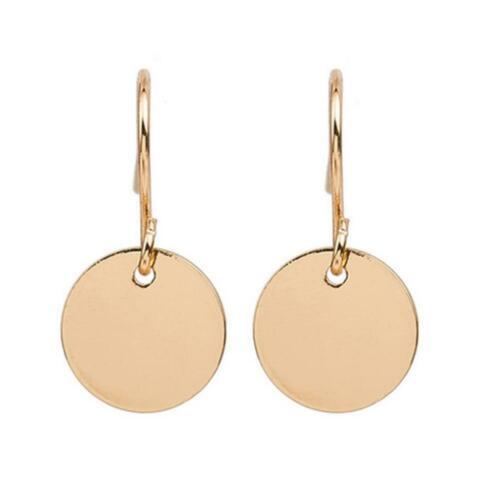 Gold Silber Scheibe Runde Minimalist Kreis Ohrringe Schmuck Frauen Legieru D7M7