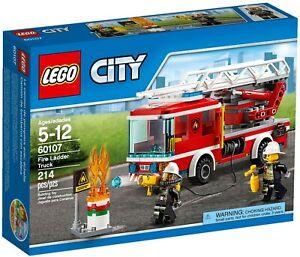 NEW-LEGO-City-60107-Fire-Ladder-Truck-Oil-Barrel-amp-Flames-2-Minifigures-RARE