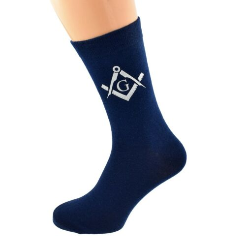 Masonic Silver with G Vinyl Print Mens Navy Blue Socks UK 5-12 X6S224-004-SIL-G