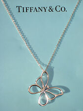 Tiffany & Co Sterling Silver LARGE Butterfly Charm Necklace