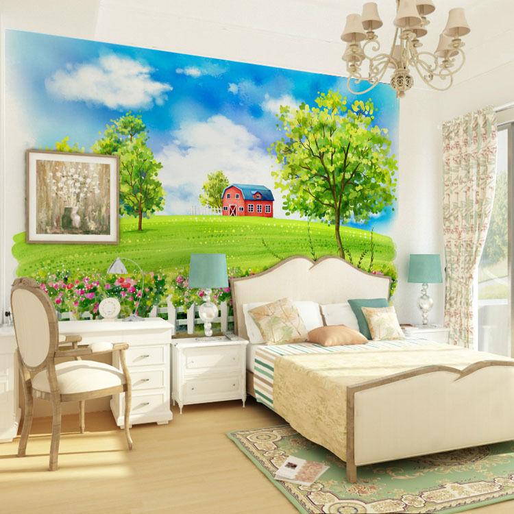 3D greene Wiesen, Bäume 255 Fototapeten Wandbild Fototapete BildTapete Familie
