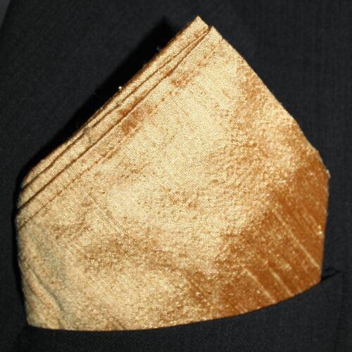 "Full-Sized 16/"" x 16/"" Gold Dupioni Silk Pocket Square"