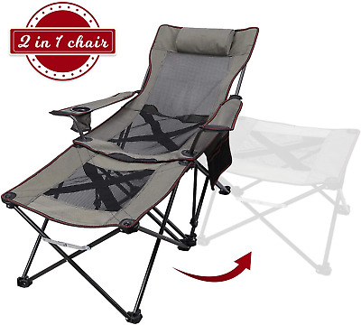 Adako USA Oversize Recliner Folding Chair for Camping Patio Outdoors Cup Holder