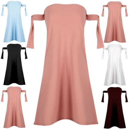 Womens Ladies Off Shoulder Plain Bardot Tie Knot Boobtube Swing Mini Shift Dress