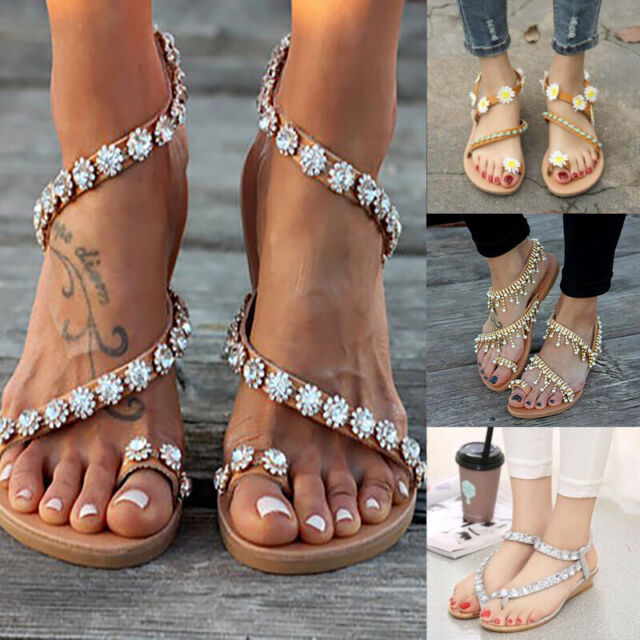 Sandale Zehentrenner Sandaletten mit Strasssteinen Damen in 5  Farben