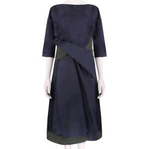 Jil-Sander-Luxurious-Midnight-Blue-Deep-Green-Origami-Fold-Dress-FR36-UK8