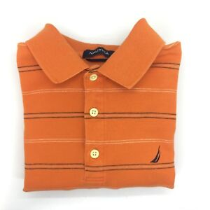175df40f240 Image is loading NAUTICA-Orange-Striped-Short-Sleeve-Collared-Polo-Rugby-