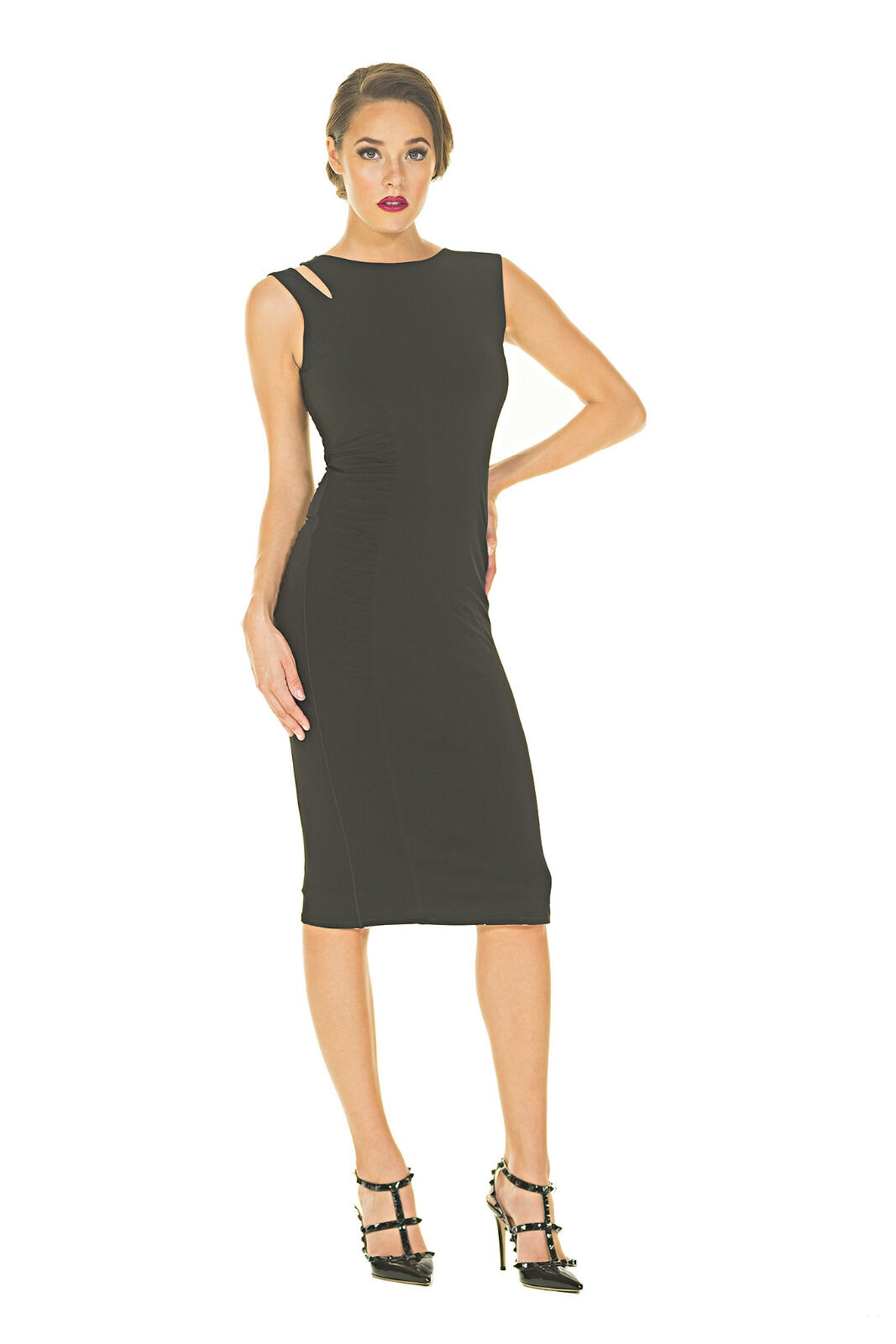 Ladies Eva Varro Side Ruched Shoulder Cutout Dress - Beautiful