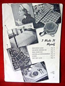 Crochet-Afghan-Bedspread-1940-1950-I-Made-Myself-Knit-Tatting-Pattern-Vintage