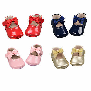 NEW-Baby-Girls-Infant-Patent-Leather-Shoes-Perwalk-Toddler-Soft-Soles-Shoes-0-5