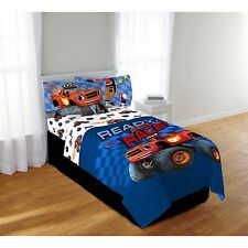 Blaze & The Monster Machines Boys Twin Comforter & Sheets (4 Piece Bed In A Bag)