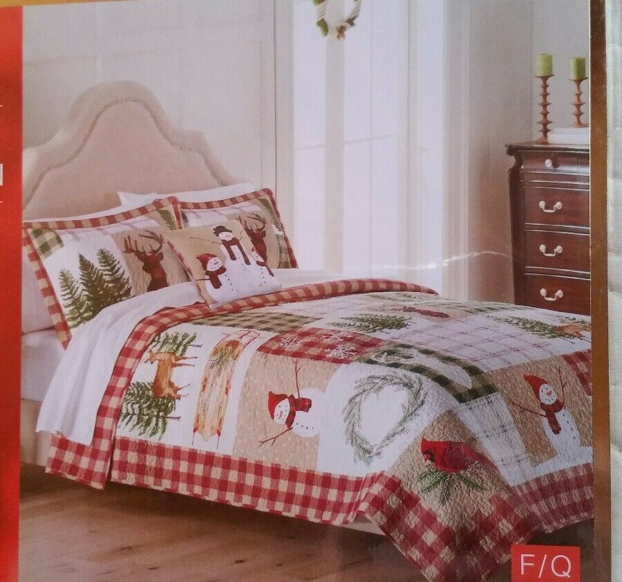 St Nicholas Square  Yuletide  Full Queen Reversible Quilt NEW 90  x 95