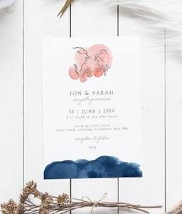 Details About 25 Navy Blush Disney Beauty The Beast Wedding Invitations Invites