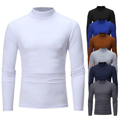 Men Thermal T shirt Autumn Winter Top Long Sleeve Tee Seamless High Neck Clothes | eBay