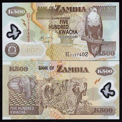 ZAMBIA 500 KWACHA 2011 UNC POLYMER NOTE WORLD PAPER MONEY P-43H
