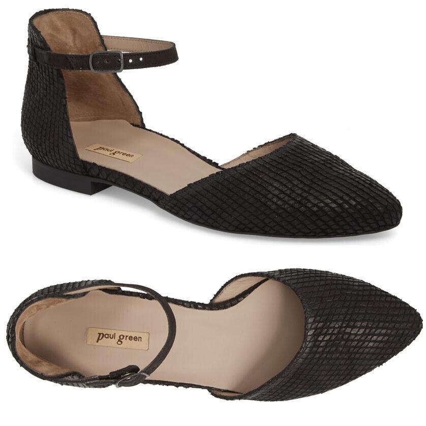 PAUL GREEN Sadie Ankle Quarter Strap Flat Sandal shoes US 10 UK 7.5 Black Nubuck