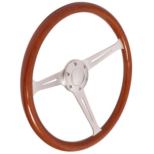"15/"" Wooden Grain Silver Brushed Spoke Steering Wheel Classic Wood 380mm /& Horn"