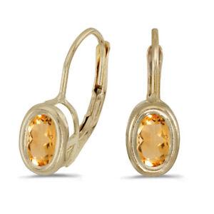 14k-Yellow-Gold-Oval-Citrine-Bezel-Lever-back-Earrings