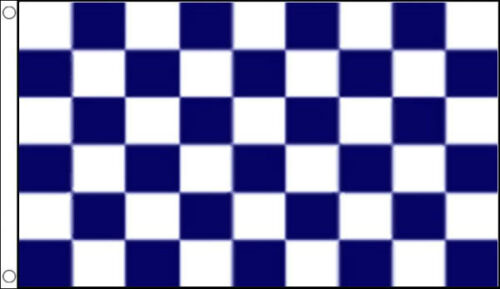 3/' x 2/' Navy Blue and White Check Flag Chequered Checkered Team Sports Banner