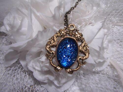 silver BLUE ROYAL sapphire GLITTER Dragons BREATH eye Necklace Pendant MEDIEVAL