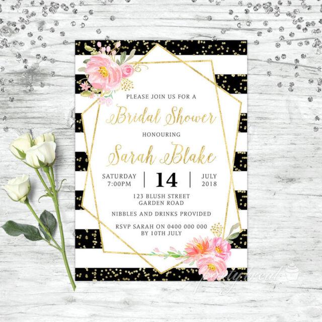 Bridal Shower Invitations Personalised Fl Invite Pink High Tea Hens