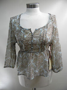 New-Band-Of-Gypsies-Floral-Waist-tie-Tunic-W57-22672-BNN9-Blue-Brown-Large