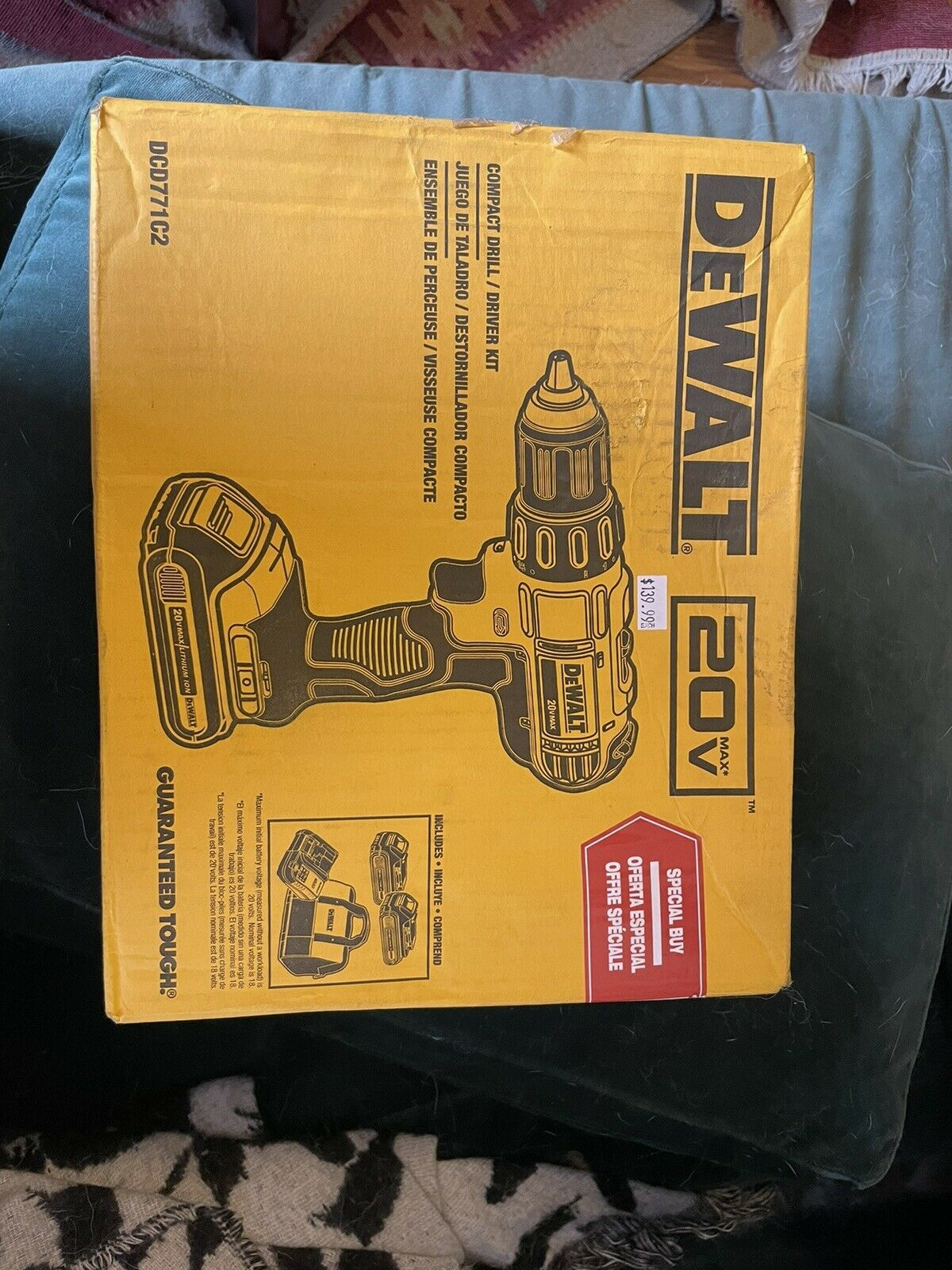 N467360 hkqgy-62 Dewalt DCD771 Cordless Drill Driver (Kit with 2 20V Lithium-Ion Batteries,...