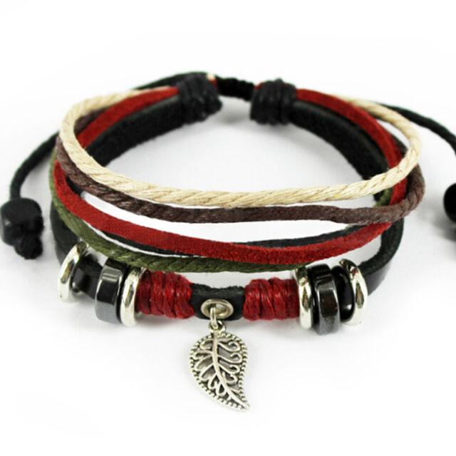 New Leaf Black Leather Adjustable Bracelet Handmade Jewelry Womens Mens Bangle