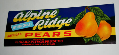3 Alpine Ridge Brand Pears Produce Fruit Label NOS New 1960s Comstock Park Mich
