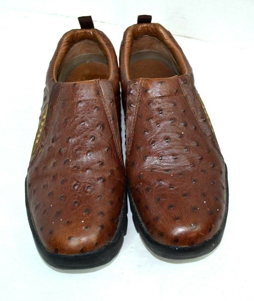 ROPER marron GENUINE OSTRICH LEATHER FLAT chaussures Taille 8.5 M
