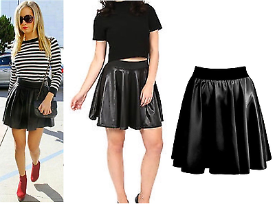 Women Ladies High Waist Bodycon Faux Leather Wet Look Flared Skater Mini Skirt
