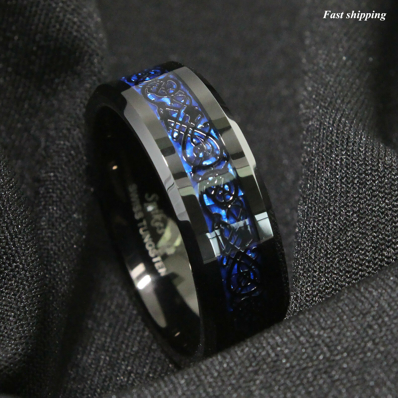 black ring jewelry s atop carbon itm tungsten carbide mens celtic fibre blue stone rings dragon