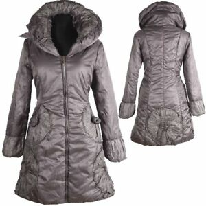da invernale Warm 36 donna Coat con Giacca S Parka 38 Anorak palloncino Grey M Coat Down AUq5wWd