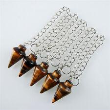 5pcs Wholesale Tiger Eye Gem Pendulum Pendant Bead F-5CPBC43